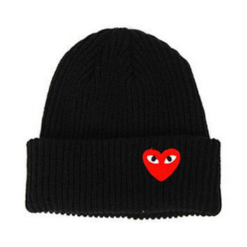 Red Heart Face Man Winter Warm Thick Knitted Heart Shaped Beanie Casual Women's Outdoor Street Dance Fitted Black Cuffed Skully Hat