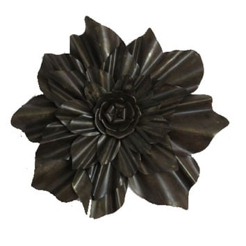 Brown Lotus Flower Metal Wall Home Decor