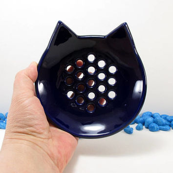 Navy blue cat soap dish, cat soap dish, ceramic cat soap dish, pottery cat soap dish, clay cat soap dish, cat soap holder, cat soap saver