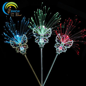 Fiber Optic Butterfly Fairy Stick Plastic Crown Headband Wand Neon Prom Girls Headdress Bar Ball Party Decoration Flash Light