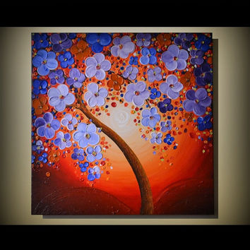 "30"" LARGE ORIGINAL Abstract Art Modern Blooming Cherry Tree Painting Heavy Palette Knife Texture Ready to Hang Wall Decor"