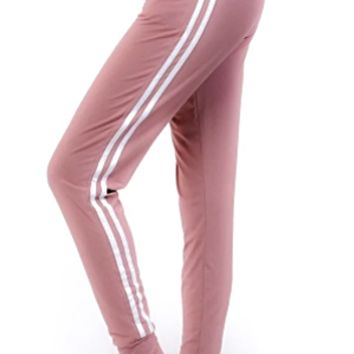 Ladies Solid Jogger Double Striped Side Leggings