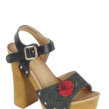 Retro Black Floral Stacked Heel Wedges