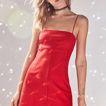 Silence + Noise Audrey Red A-Line Mini Slip Dress | Urban Outfitters