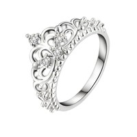 Crown Rings For Women Trendy  Cubic Zirconia Wedding Bands Promise Rings