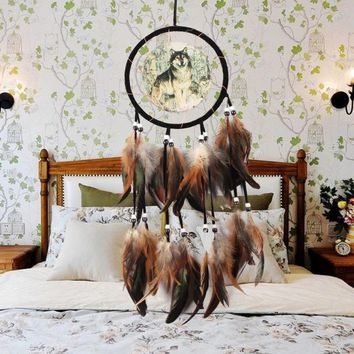 New The Wolf Totem Indian Style Hand Knitting Feather Dream Catcher Pendants for Home Decoration Car Ornaments Crafts