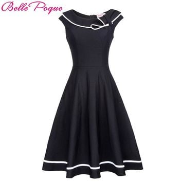 Belle Poque Women Vintage Rockabilly Dress 50s Nautical Sailor style Summer Retro Black Dresses 2017 Woman Preppy Swing Dress