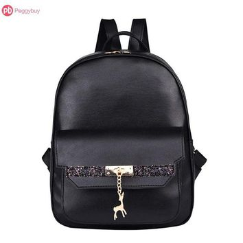 Girls bookbag Glitter Women PU Leather Deer Pendant Backpacks Girls Zipper Travel Bookbag Shoulder School Bags bolsa mochila feminina AT_52_3