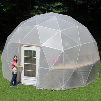20 ft Geodesic Dome Greenhouse Kit, Custom Vinyl Cover   Est. Lifespan 10-15 years