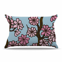 """Art Love Passion """"Cherry Blossom Day"""" Floral Illustration Pillow Case"""