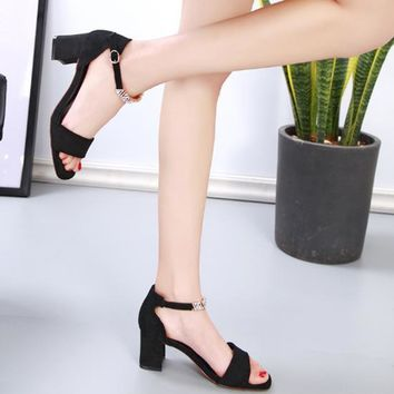 Summer Women All-match Fashion Rhinestone Ankle Strap Open Toe Sandals Suede Block Heels Shoes