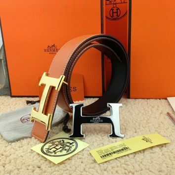 @Brand New Authentic Hermes Orange110cm Belt 2H Golden-Sliver Buckle 38MM