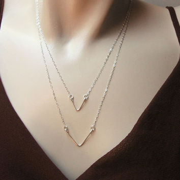 Triangle Necklace, 925 Sterling Silver, Chevrot Necklace, Wire Crafted Triangle, Mother's Daughter's Necklace, Triangle Pendant