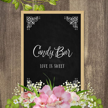 Candy bar signs, Wedding table decor, Wedding table signs, Chalkboard bar sign, Decorative chalkboard decor, Digital chalkboard wall art