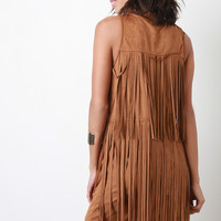 Suede Tiered Fringe Mini Dress