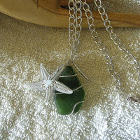 Green sea glass necklace with starfish.
