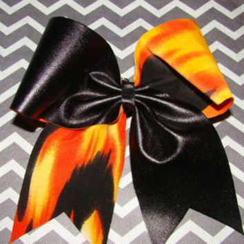 Orange Streaks with Black Criss Cross Cheer Bow by isparklethat