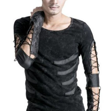 Punk Mens Ripped Motorcycle Casual T-Shirt Visual Kei Elastic Strip Top L XXL T303