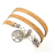 Cork Wrap Bracelet with Sterling Tree of Life Charm