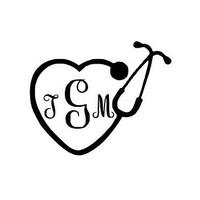 Nurse Monogram Decal / Custom Vinyl Monogram Decal / Vine Monogram / Monogram / Fancy Monogram / Monogram Car Decal