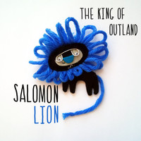 Felt brooch, black and blue lion, the king of Outland