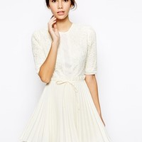 Jones and Jones Prom Dress With Lace Bodice and Pleated Skirt - Cream