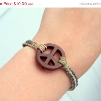 15% off CIJ SALE Camouflage Macrame Bracelet For Men For Women Peace Pendant