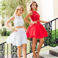 Lace Crop Top Short Homecoming Dress