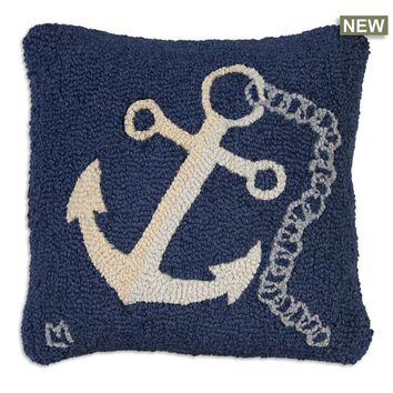 "Anchor With Chain Hooked Pillow 18""L X 18""W"