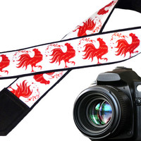 Red rooster camera strap. Stylized cock. Padded camera strap. Red and white. 2017 year's camera accessory. Etsy finds by InTePro