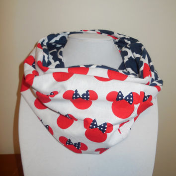 Minnie Mouse Scarf - Minnie Infinity Scarf - Mickey Disney - Cute Minnie Head with Bow - Red White Blue - Cotton Flannel Quatrefoil