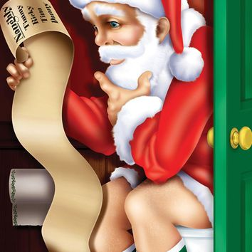 Santa Restroom Door Cover Decorations Christmas