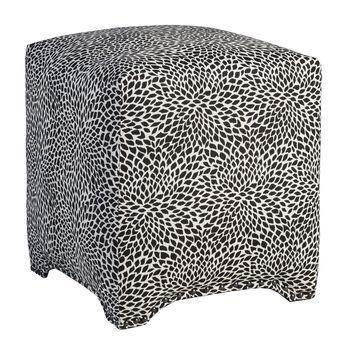 Black and White Print Square Upholstered Fabric Footstool Ottoman