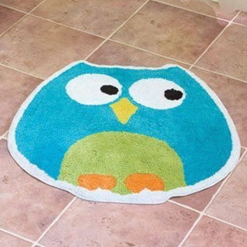 Turquoise Green Yellow Orange White Perched Owl Big Bathroom Rug