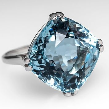 12 Carat Cushion Cut Aquamarine Cocktail Ring Platinum