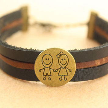 characterization bracelet--boy girl hand by hand charm ,antique bronze beads bracelet,flat black&brown leather bracelet,friendship gift