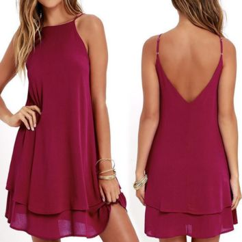 Solid Color Sexy Chiffon Backless Sling Dress