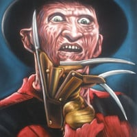 ON SALE Freddy Krueger horror film legend black velvet oil painting handpainted signed art