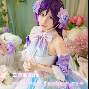 Anime Love live TOJO NOZOMI White Saint Valentine's Day Cosplay Costume dress+wing