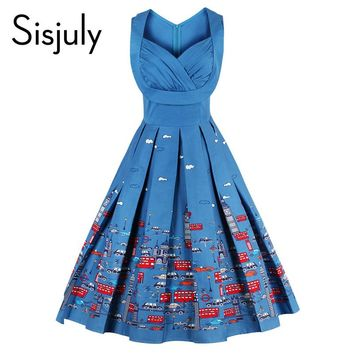 Sisjuly 2017 vintage dresses floral print  style 1950s cute blue party women dress high-waist spring sleeveless vintage dresses