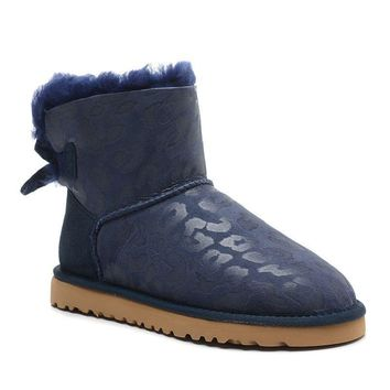 ESBON UGG 1006058 Bowknot Leopard Women Fashion Casual Wool Winter Snow Boots Blue