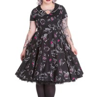 Hell Bunny Gothic Beauty and Glam Black Swing Kalonice Diner Dress