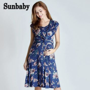 New Summer Fashion British Floral Retro countryside style pregnancy dress flower printed maternity dresses