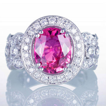 SALE 15% off  ONE of a Kind Strong Intense Vibrant Pink Sapphire Diamond Halo Unique Design Engagement Anniversary Right Hand Ring