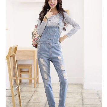 Womens Washed Jeans Denim Dungarees Ladies Strap Jumpsuit Romper Overalls = 1929984452