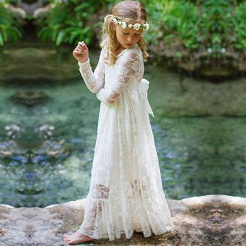 Boho Lace Flower Girls Dresses