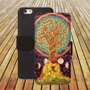 iphone 5 5s case life tree watercolor iphone 4/ 4s iPhone 6 6 Plus iphone 5C Wallet Case , iPhone 5 Case, Cover, Cases colorful pattern L120
