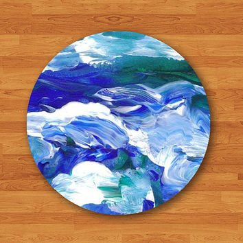 Abstract Sea Watercolor Drawing Circle Round Mouse Pad Blue Color Office Deco Computer MousePad Work Japanese Pad Personalized Teacher Gift