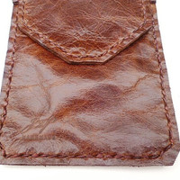 soft Brown balong oil Leather  Pocket Protector sleeve small