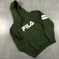 FILA Fashion Men Women Hoodie Print Loose Long Sleeve Thick Sweater Top Army Green
